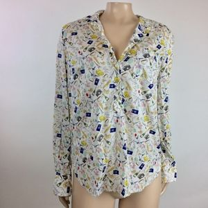J Crew French Print Popover Shirt 4 Small GG19